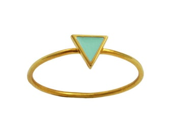 Mint Triangle Enameled Gold Vermeil Ring // Enamel in Geometric Setting on a Thin, Dainty Gold Band // Choose Your Accent Color