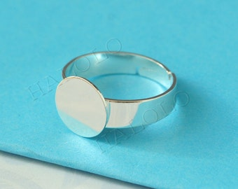 9 pcs silver finish adjustable ring blanks with round flat pad R08I