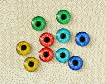 Sale - 10 pcs assorted dragon's eyes cabochons 12mm (12-0580)
