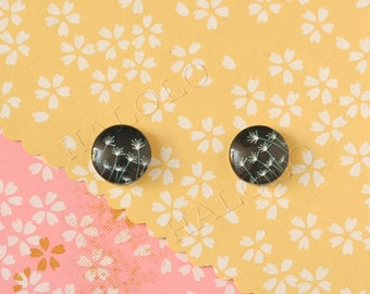Sale - 10pcs handmade black parsley clear glass dome cabochons 12mm (12-0804)