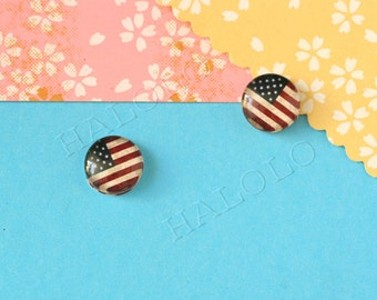 Sale - 10pcs handmade flag clear glass dome cabochons  12mm (12-1042)