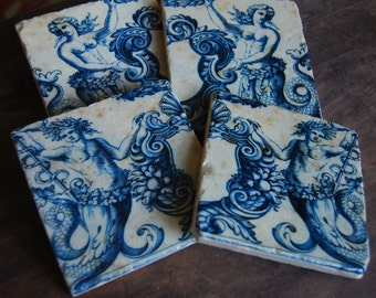 Mermaids & Mermen coasters - beach house, beach decor, gift idea, ocean