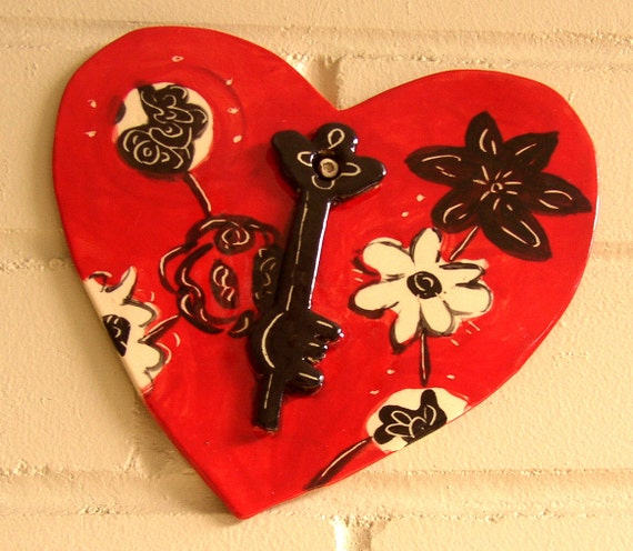 Large Heart Wall Decor : Items similar to heart large wall hanging ceramic