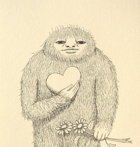 Bigfoot Sasquatch Ink Drawing Love Illustration Print Black & White Ivory Cream Heart Flowers Funny Weird Art Rustic Home Wall Decor 4x6