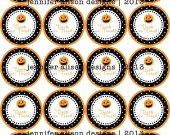 INSTANT DOWNLOAD / Halloween Pumpkin Trick or Treat printable Party Circles / Cupcake Topper / Stickers / Thank You Tags