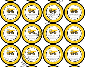 "Construction Truck Party 2"" PERSONALIZED printable Party Circles / Cupcake Topper / Stickers / Thank You Tag"
