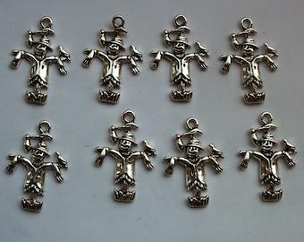 10 Scarecrows Silver Tone Wizard of Oz Charms