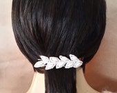 Ivory beaded leaf hair barrette,  hair clip,  embellished barrette, fashion accessory, womens accessory, vintage accessory