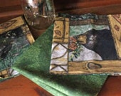 Woodland Black Bears All Cotton with a Green Backing Reversible Cloth Napkins - Set of 4