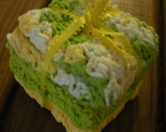 Lemon Lime Cotton Crochet Dishcloths - Set of 3