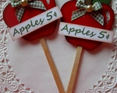 Fall Apple Lollipop Embellishments-Set of 2-Cupcake Toppers