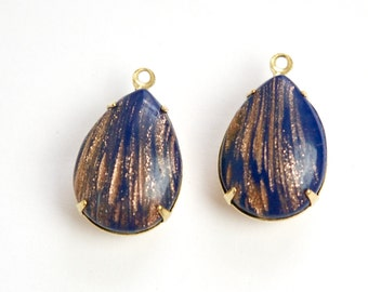 Vintage Navy Blue Goldstone Glass Teardrop Stones 1 Loop Brass Setting 18x13mm par004XX