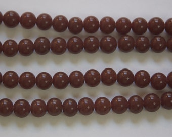 Vintage Opaque Brown Glass Beads Japan 8mm (8) jpn003R