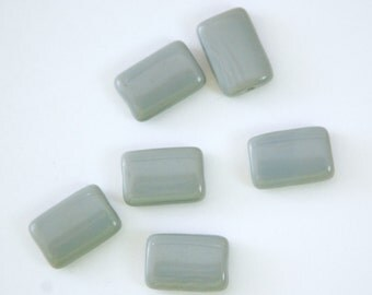 Vintage Gray German Glass Rectangle Beads (6) grm062A