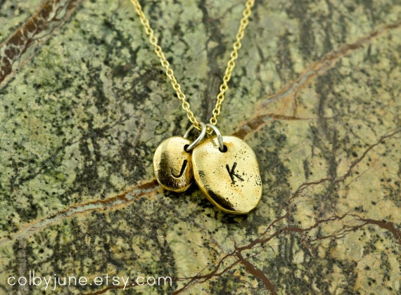 Bronze and Gold Pebble Necklace