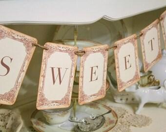 Sweets Banner Garland Wedding Photo Prop Buffet Candy Bar Decoration