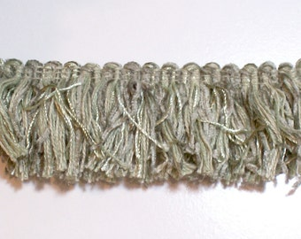 Green Fringe, Sage Green Chenille Brush Fringe Sewing Trim 1 1/2 inches wide x 3 yards