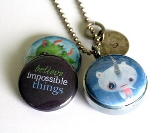 Yeti and Dragon Locket Necklace - Recycled, Believe - Custom Initial Charm - Magnetic Necklace by Polarity - Cuddly Rigor Mortis Collection