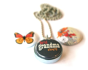 Grandma Necklace Locket  - Grandmother Jewelry, Best Nana, Magnetic Jewelry of Recycled Silver Steel by Polarity, 3 Interchangeable Lids