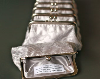 Personalized Silver Grey Lace Clutch