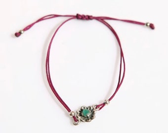 Flower Sterling Silver and Adjustable Thread Bracelet in Maroon Color