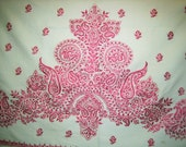 """Intricate Red Embroidered Linen 80""""x 40"""" Handmade Paisley Redwork Sew headboard valance wall art shawl"""