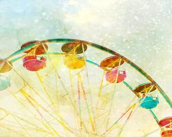 SPECIAL - Nursery art, 12x16 print, baby boy, hearts, carnival theme, ferris wheel, little boys room, circus art, infant, pastel colors