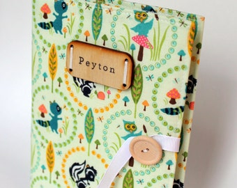 Mother's day gift woodland animal personalized rustic photo album baby book