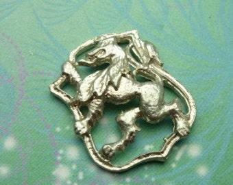 Vintage Sterling Silver Dangle Charm - Lion Shield
