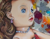 Portrait of Vintage Doll with Autumn Leaf Collage Background