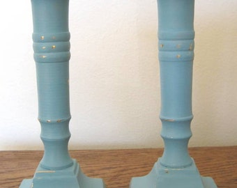 Hand Painted Metal Pair of Candlesticks Robin's Egg, Aqua, Peacock Blue