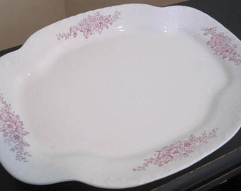 Vintage Platter WEP CO China White and Pink Ironstone