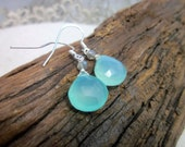 Aqua blue chalcedony drop stone sterling earrings
