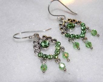 Green Earrings, Dangle Earrings, Chandelier Earrings, Glass Bohemian Jewelry, Wedding Jewelry, Womens Gift,  Holiday Gift