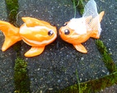 Kissing Koi or Goldfish Wedding Couple Cake Topper  Set of Two Shown in Koi Orange and Icy Pearl Swirl Bride and Groom
