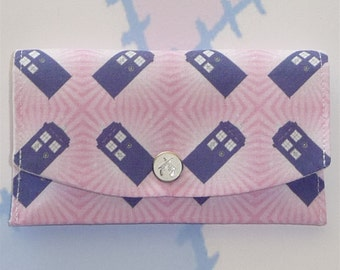 Police Box on Pink, Credit or Business Card Wallet