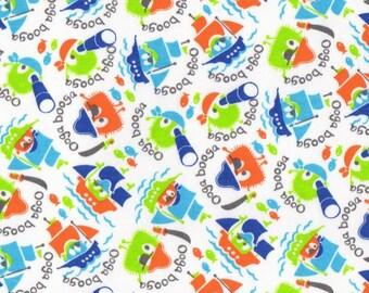 PIRATE Ooga Booga, Cotton Interlock Knit Fabric, by the Yard
