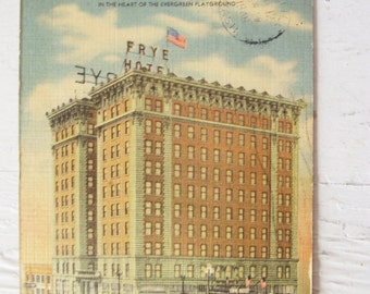 Vintage Postcards -Seattle, Spokane Washington- Hotel Frye and Dessert Hotel