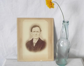 Antique Chalk Portrait - Man with Bow Tie - Portrait - 1900s