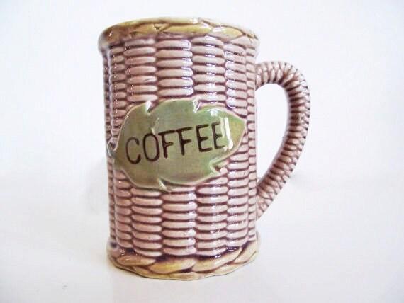 Vintage Coffee Mug - Basket Weave Texture - Ceramic - Leaf - Green - Woven