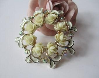 Brooch Ivory Rose Aurora Borealis Rhinestones Goldtone Brooch - Vintage Chic