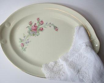 Vintage Taylor Smith Taylor Pink Green Rose Serving Platter - Cottage Chic