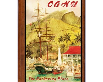 OAHU Hawaii 2- Handmade Leather Journal / Sketchbook - Travel Art