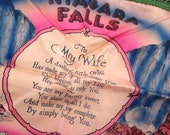 Vintage silk pillow cover - Niagara Falls - To my wife