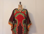 1970s Deep Red Cotton Caftan,  vintage Batik Maxi Dress, Ethnic Dashiki with Butterfly Angel wings
