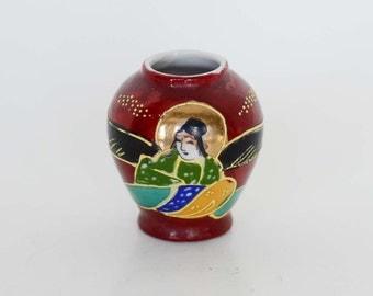 Vintage Handpainted Oriental Vase or Ginger Jar in Dark Red - Takito Company - Made in Japan