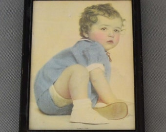 """Baby """"Curly Top"""" Vintage Picture in Black Frame"""