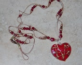 Valentine Red Glass Heart Pendant Necklace, Beaded Copper Corded Necklace, Heart Necklace, Valentines Gift, Red Heart