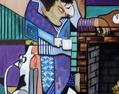 The Morning After Man Dog Hangover Coffee Giclee Cubism Anthony Falbo