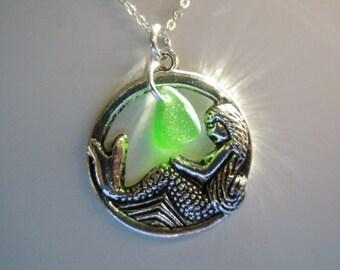 Mermaid Sea Glass Necklace - Geometric Jewelry Green Beach Glass